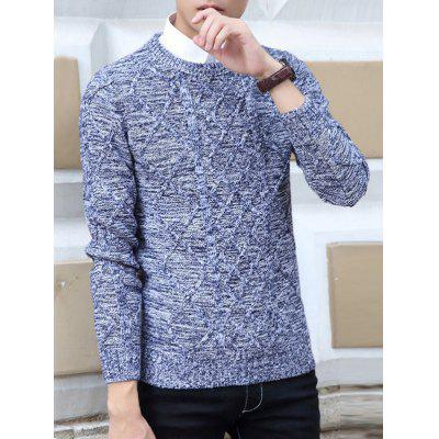 Buy GRAY Crew Neck Kink Design Knit Blends Long Sleeve Sweater for $11.59 in GearBest store
