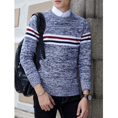 Buy ROYAL Crew Neck Stripe Design Knit Blends Long Sleeve Sweater for $11.80 in GearBest store