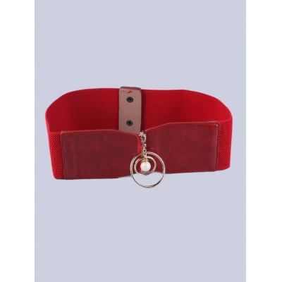 Elastic Faux Suede Belt with Metal Rings
