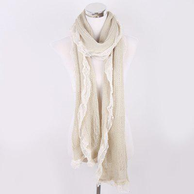 Faux Pearl Lace Edge Knitted Scarf