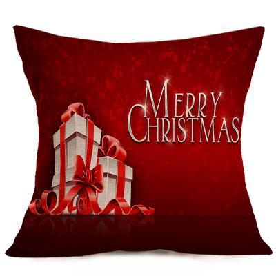 Merry Christmas Gift Linen Seat Cushion Pillow Case
