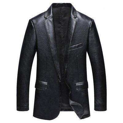 Buy BLACK Pocket One Button Faux Leather Jacket for $61.64 in GearBest store