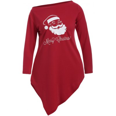 Skew Neck Santa Claus Print Longline Tee 2006 acura tl spray paint paint only anthracite metallic nh 643m