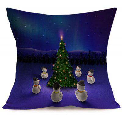 Merry Christmas Snowman Pattern Cushion Pillow Cover