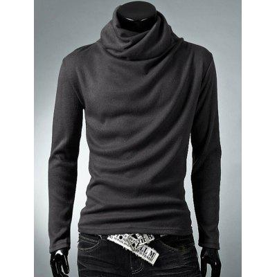 Buy DEEP GRAY Cowl Neck Thermal Plain T-Shirt for $8.81 in GearBest store