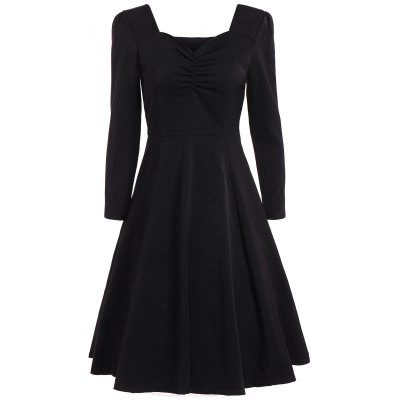 Sweetheart Neck Long Sleeve Swing Flare Dress