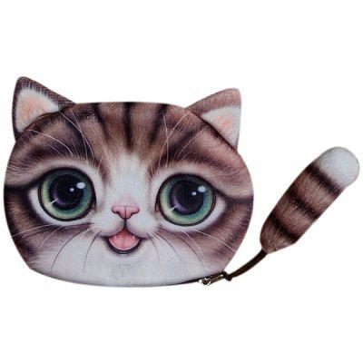 Buy COFFEE Colour Splicing Cat Shape Zipper Coin Purse for $10.78 in GearBest store