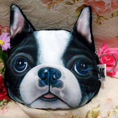 Buy WHITE AND BLACK Dog Pattern Colour Splicing Zip Coin Purse for $7.36 in GearBest store