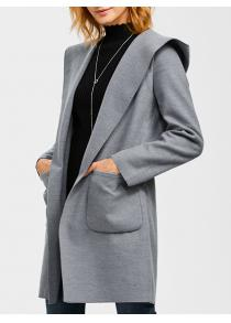 Slim Double Pockets Hooded Wrap Coat