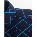 Plaid and Curve Print Turndown Collar Flocking Shirt deal