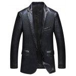 Pocket One Button Faux Leather Jacket - BLACK