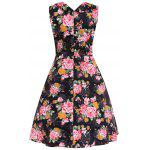 cheap Floral Midi Retro Dress