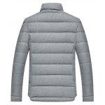 Applique Stand Collar Zip Up Cotton Padded Jacket - GRAY