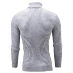 Slim Fit Cable Knit Turtleneck Sweater M GRAY
