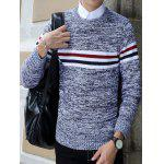 Crew Neck Stripe Design Knit Blends Long Sleeve Sweater - ROYAL