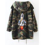 Buy Embroidered Patched Hooded Camo Utility Coat XL ARMY GREEN