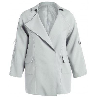 Plus Size Pocket Design Plain Coat