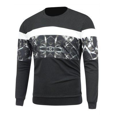 Long Sleeve Printed Paneled Crew Neck Sweatshirt