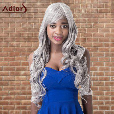 Adiors Long Shaggy Wavy Inclined Bang Synthetic Wig