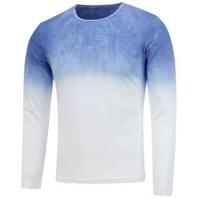 Round Neck Long Sleeve Ombre T-Shirt