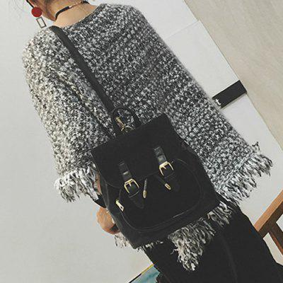 Drawstring Double Buckle Splicing Backpack