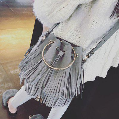 Faux Suede Metal Ring Fringe Bucket Bag