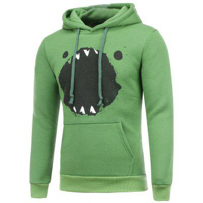 Splatter Paint Cartoon Print Hooded Long Sleeve Green Hoodie