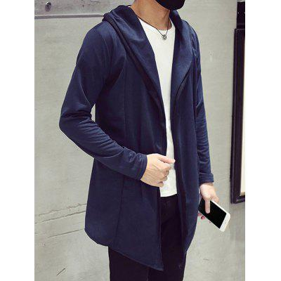 Open Front Side Pocket Hooded Coat