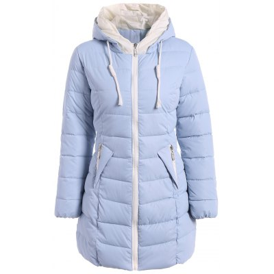 Hiver poches Drawstring Hooded Down Jacket