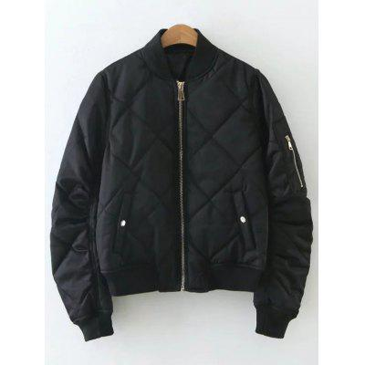 Diamond Pattern Padded Bomber Jacket