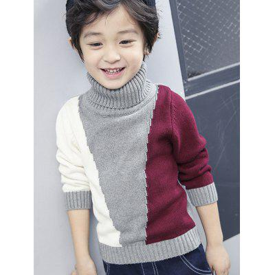 Roll Neck Color Block Panel Sweater