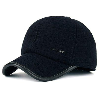 Warm Alloy Sport Label Earmuff Plaid Baseball Hat