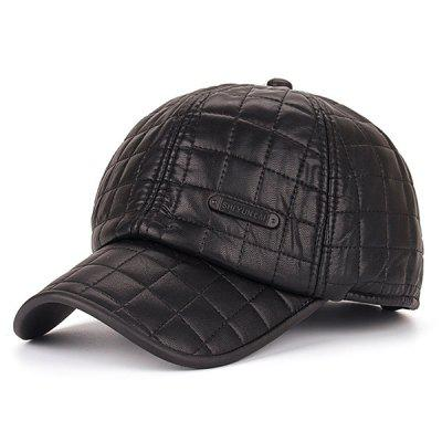 Warm Label Gingham Plaid PU Earmuff Baseball Hat