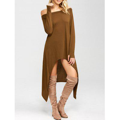Buy COFFEE High Low Convertible Off The Shoulder Dress for $17.91 in GearBest store