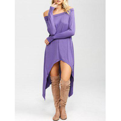 Buy PURPLE High Low Convertible Off The Shoulder Dress for $17.91 in GearBest store