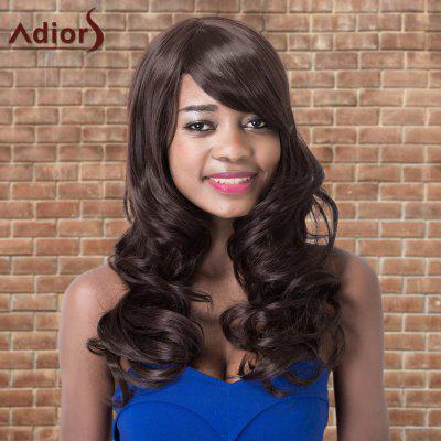 Buy DEEP BROWN Adiors Long Shaggy Wavy Side Bang Synthetic Wig for $20.00 in GearBest store