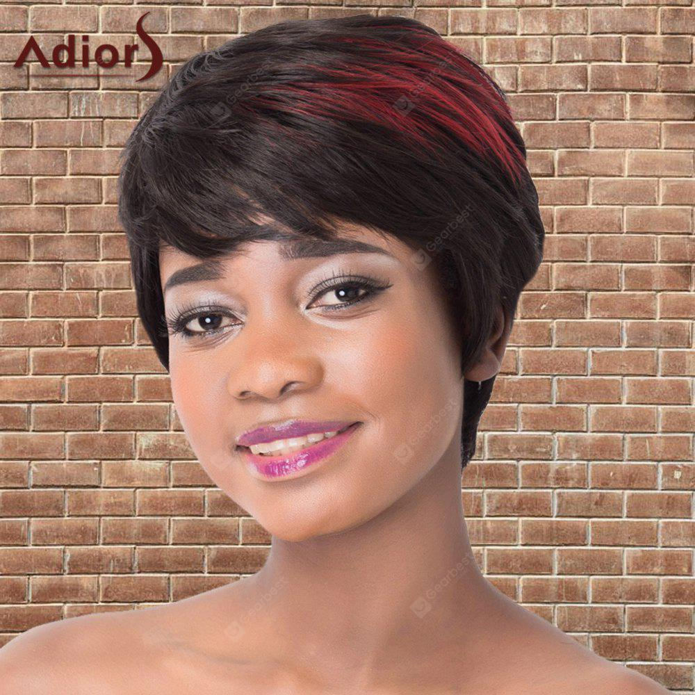 RED WITH BLACK Adiors Short Full Bang Fluffy Mixedcolor Straight Synthetic Wig