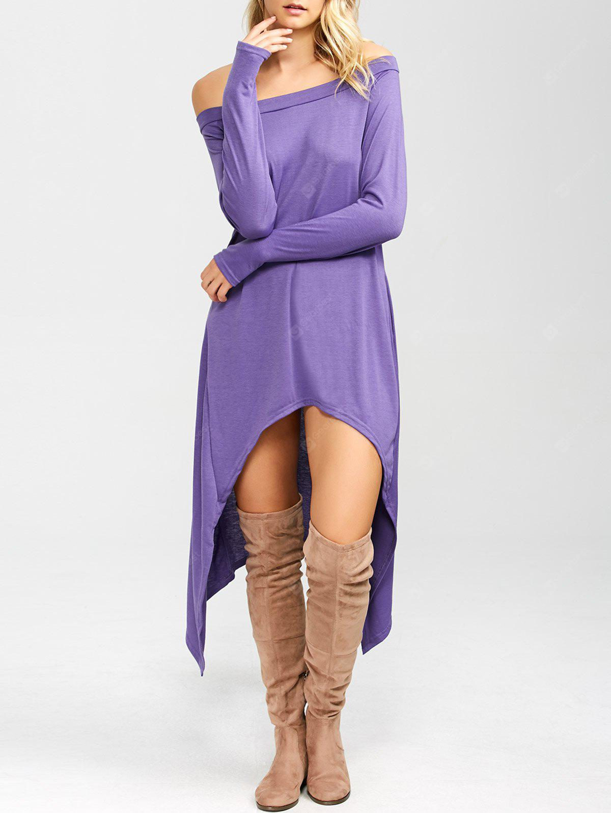 PURPLE High Low Convertible Off The Shoulder Dress