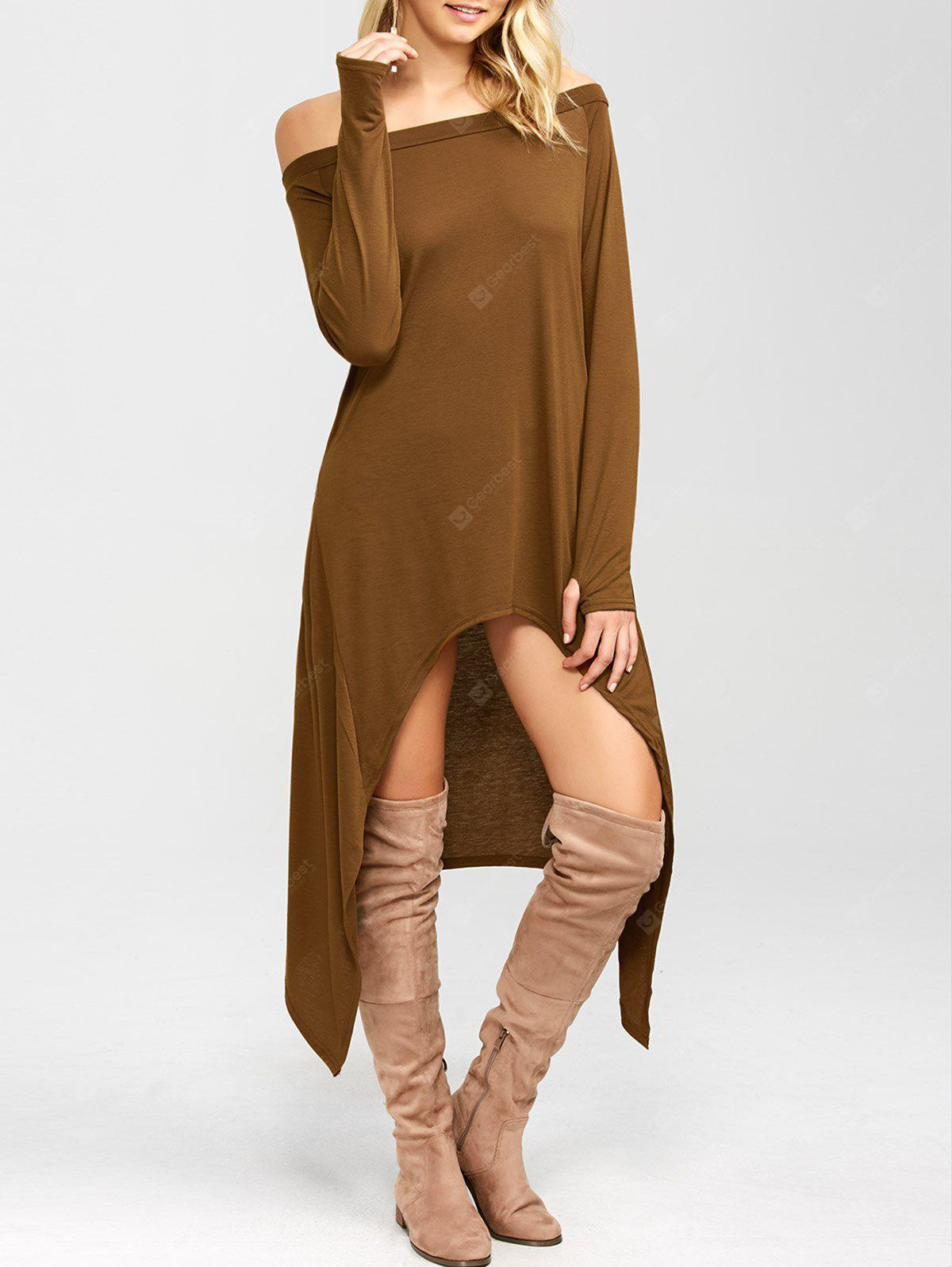 COFFEE High Low Convertible Off The Shoulder Dress