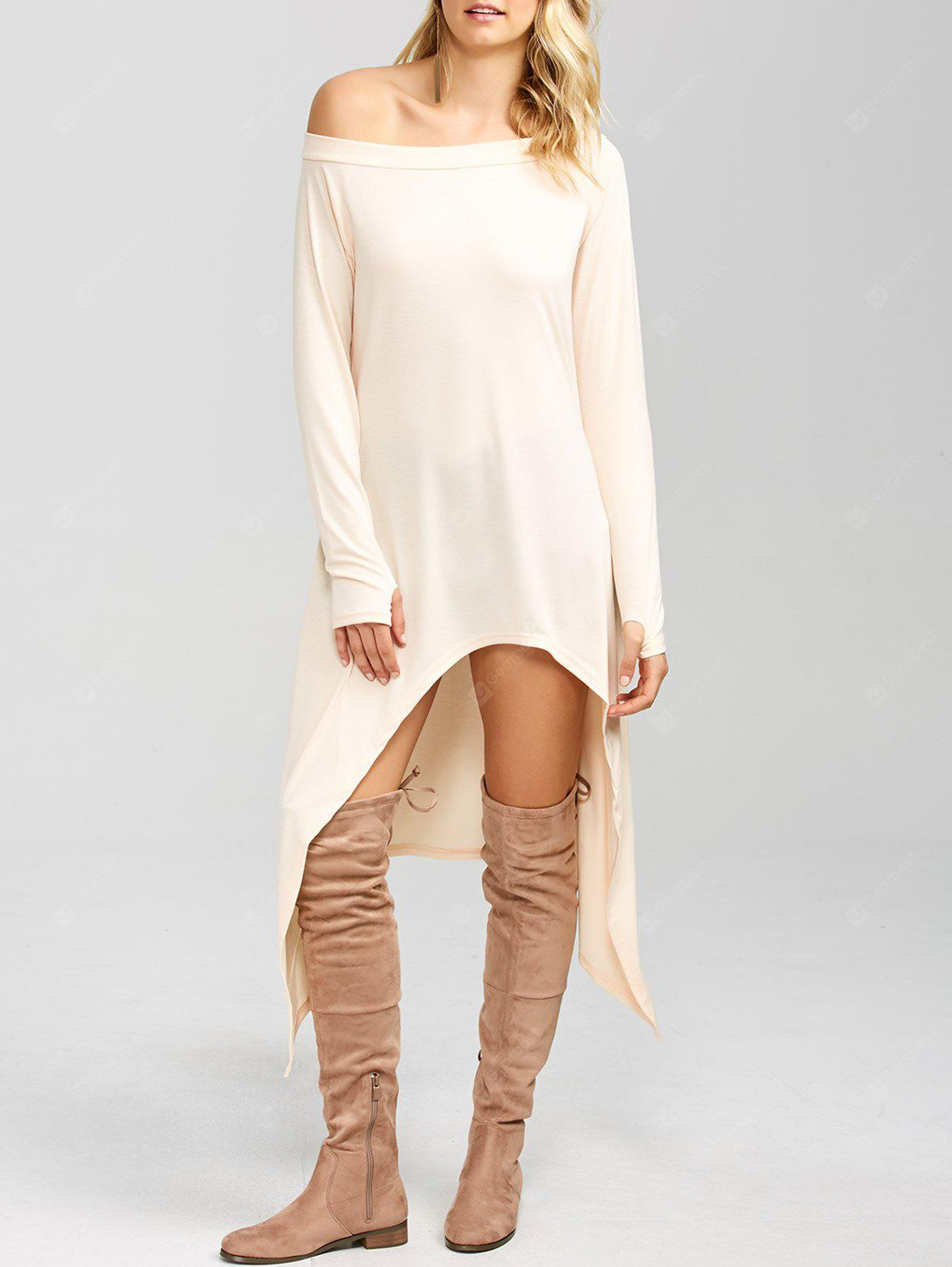 PINKBEIGE High Low Convertible Off The Shoulder Dress