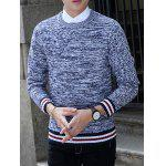 Knit Blends Stripe Splicing Long Sleeve Sweater - ROYAL