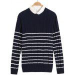 Torção Striped Knit Crew Neck Sweater - AZUL ESCURO
