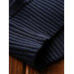 Turtleneck Ribbed Pullover Sweater - DEEP BLUE
