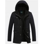 Epaulet Design Pocket Flocking Hooded Jacket - BLACK