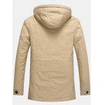 Buy Epaulet Design Pocket Flocking Hooded Jacket KHAKI