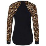 Leopard Trim High Low Sweatshirt - BLACK