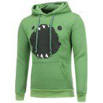 Splatter Paint Cartoon Print Hooded Long Sleeve Green Hoodie - GREEN