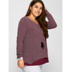 cheap Plus Size Zipper Embellished Layered Pullover