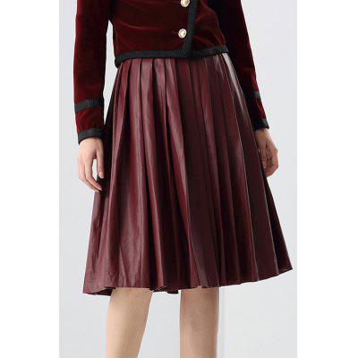 Pleated PU Leather Midi Skirt