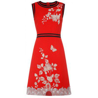 Sleeveless Hand Embroidery A Line Dress